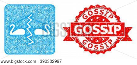 Net Divorce Swans Icon, And Gossip Unclean Ribbon Seal. Red Stamp Seal Has Gossip Text Inside Ribbon