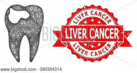 Net Tooth Caries Icon, And Liver Cancer Rubber Ribbon Stamp Seal. Red Stamp Seal Includes Liver Canc