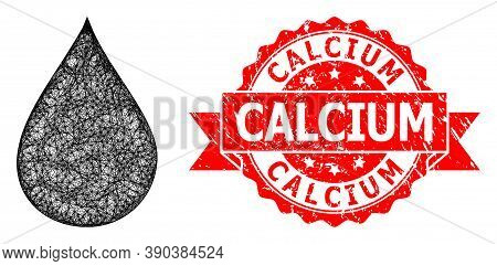 Wire Frame Oil Drop Icon, And Calcium Rubber Ribbon Stamp. Red Stamp Includes Calcium Caption Inside