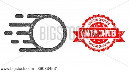 Net Light Motion Icon, And Quantum Computer Rubber Ribbon Stamp Seal. Red Stamp Seal Has Quantum Com
