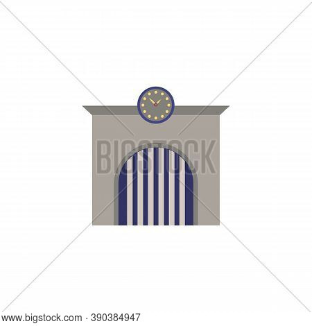 Railway Station Icon. Monochrome Simple Railway Station Icon For Templates, Web Design And Infograph