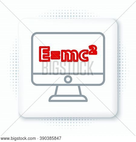 Line Math System Of Equation Solution On Computer Monitor Icon Isolated On White Background. E Equal