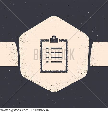 Grunge Clipboard With Checklist Icon Isolated On Grey Background. Control List Symbol. Survey Poll O
