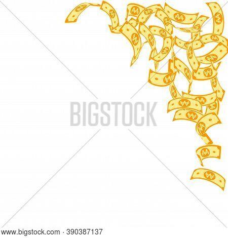 Korean Won Notes Falling. Floating Won Bills On White Background. Korea Money. Delicate Vector Illus