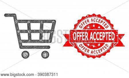 Network Shopping Cart Icon, And Offer Accepted Unclean Ribbon Stamp. Red Stamp Includes Offer Accept