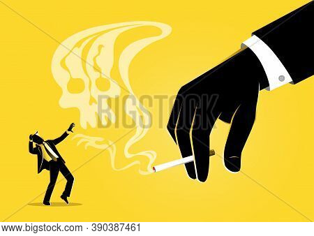 An Illustration Of Businessman Hand Holding A Burning Cigarette With Smoke Resembling A Skull