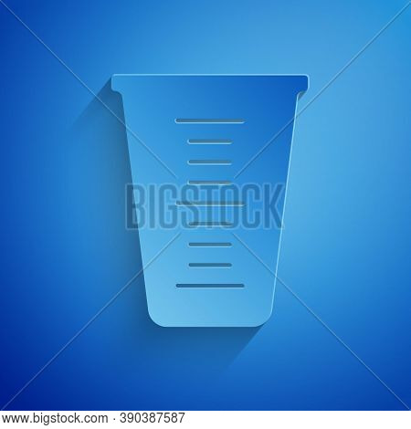 Paper Cut Measuring Cup To Measure Dry And Liquid Food Icon Isolated On Blue Background. Plastic Gra