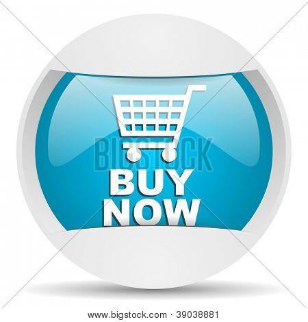 buy now round blue web icon on white background