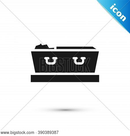 Grey Open Coffin With Dead Deceased Body Icon Isolated On White Background. Funeral After Death. Cor