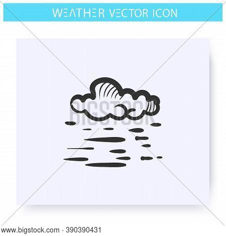 Fog Icon. Hand Drawn Sketch. Foggy Weather. Cloud And Fog. Mist. Hazed Sky. Weather Forecast Concept