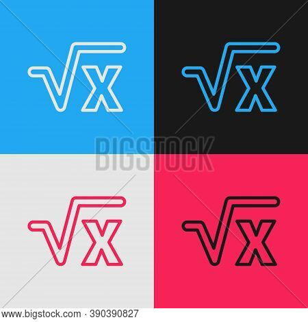 Pop Art Line Square Root Of X Glyph Icon Isolated On Color Background. Mathematical Expression. Vect