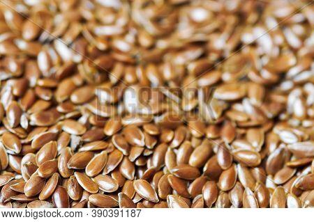 Flaxseed, Linseed Close Up. Bunch Of Linum Usitatissimum - Common Flax Seeds. Healthy Vegetarian Nut