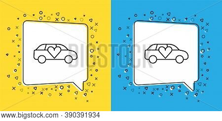Set Line Luxury Limousine Car Icon Isolated On Yellow And Blue Background. For World Premiere Celebr