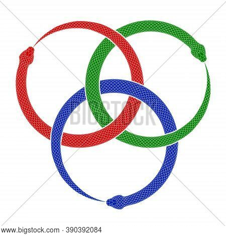 Three Intertwined Snakes Biting Their Own Tails. Ouroboros Symbol Tattoo Design. Vector Illustration