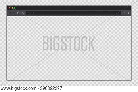 Transparent Browser Page. Internet Web Window With Editable Background. Browser Mockup In Dark Style