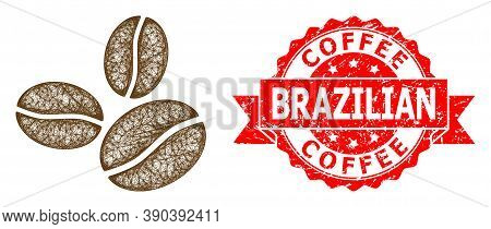Wire Frame Coffee Beans Icon, And Coffee Brazilian Dirty Ribbon Stamp Seal. Red Stamp Seal Contains