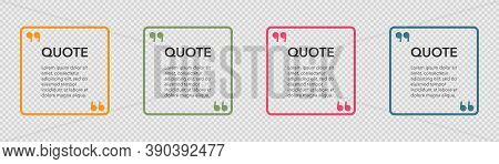 Transparent Quote Frames. Quotation Box With Commas Sign. Isolated Template Of Quot Box. Orange And