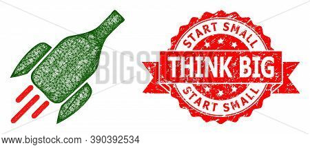 Wire Frame Rocket Wine Bottle Icon, And Start Small Think Big Rubber Ribbon Seal Imitation. Red Stam