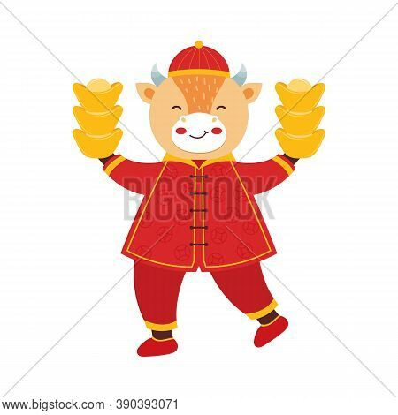 Chinese New Year 2021 Ox. Cute Bull In Traditional Red Chinese Clothes With Gold Coins And Bars. Ori
