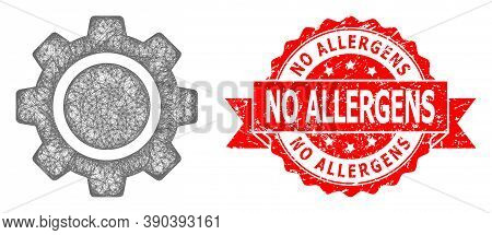Wire Frame Cog Wheel Icon, And No Allergens Scratched Ribbon Seal Imitation. Red Seal Has No Allerge