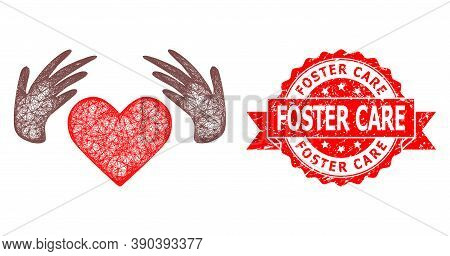 Wire Frame Handmade Love Icon, And Foster Care Unclean Ribbon Stamp. Red Stamp Seal Has Foster Care
