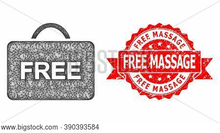 Wire Frame Free Case Icon, And Free Massage Textured Ribbon Seal Print. Red Seal Contains Free Massa