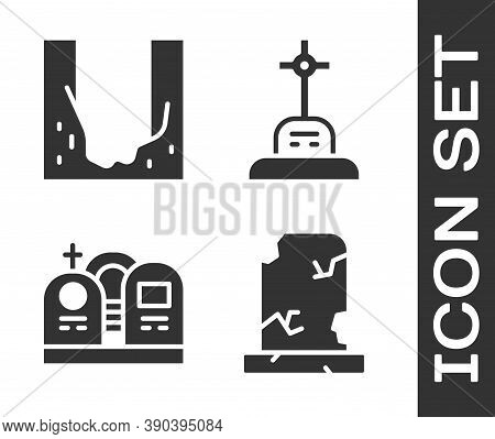 Set Old Grave With Tombstone, Cemetery Digged Grave Hole, Grave With Tombstone And Grave With Cross