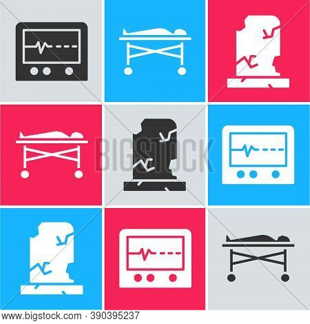 Set Beat Dead In Monitor, Dead Body In The Morgue And Old Grave With Tombstone Icon. Vector