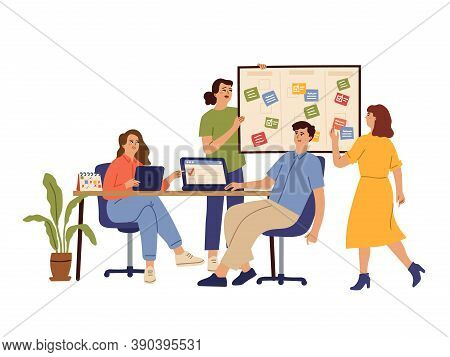 Effective Business Team. Office Group, Work Cooperative Agreement Or Agenda Planning. Flat Productiv