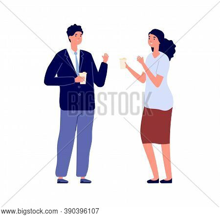 Business Conversation. Businesspeople Talking, Man Woman Holding Eco Mugs. Manager On Lunch Or Coffe