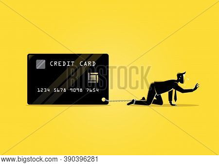 An Illustration Of A Businessman Bearing Credit Card With Foot Chained To It