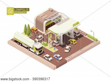Vector Isometric Gas Station With Convenience Store. Petrol Filling Station. Petroleum And Diesel Fu