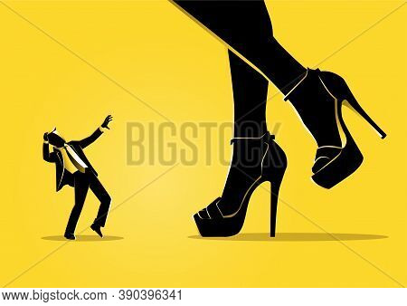 An Illustration Of A Little Businessman Is Shocked By The Appearance Of Big Women