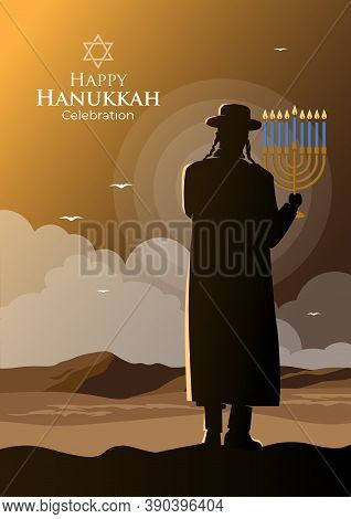 An Illustration Of An Orthodox Jew Holding A Menorah Candle On Hanukkah Day
