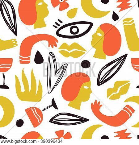 Human Body Parts. Face, Hands Legs Background. Trendy Doodle Lips Drawing, Modern Art Romantic Seaml