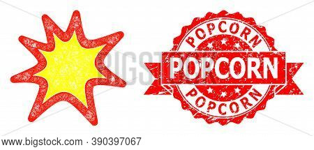 Net Exploding Boom Icon, And Popcorn Dirty Ribbon Seal. Red Seal Includes Popcorn Caption Inside Rib