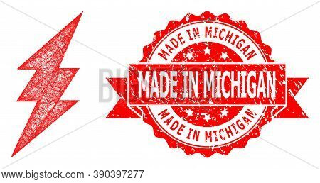 Network Electric Spark Icon, And Made In Michigan Unclean Ribbon Stamp Seal. Red Seal Includes Made