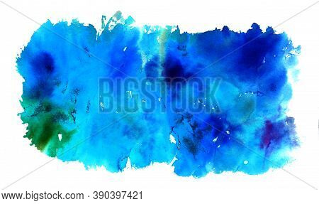 Abstract Bright Blue Watercolor Background With Green Spot