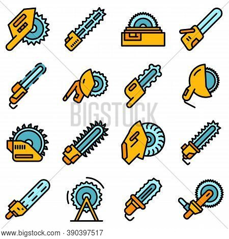 Electric Saw Icons Set. Outline Set Of Electric Saw Vector Icons Thin Line Color Flat On White
