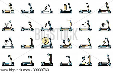 Electric Scooter Icons Set. Outline Set Of Electric Scooter Vector Icons Thin Line Color Flat On Whi