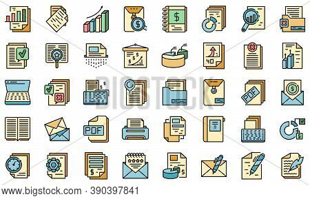 Report Icons Set. Outline Set Of Report Vector Icons Thin Line Color Flat On White