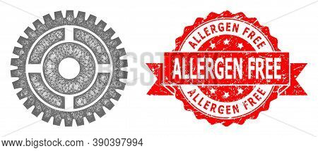 Network Clock Wheel Icon, And Allergen Free Scratched Ribbon Stamp Seal. Red Stamp Includes Allergen