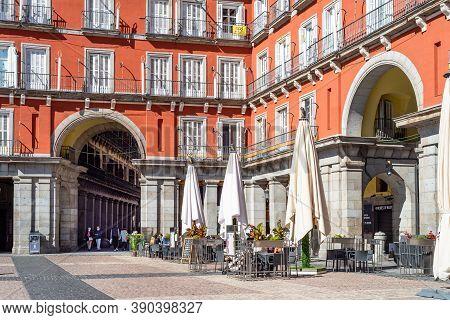 Madrid, Spain - October 11, 2020: The Plaza Mayor. Terrace Of Restaurant. The Plaza Mayor Or Main Sq