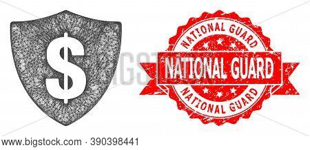 Net Dollar Shield Icon, And National Guard Textured Ribbon Stamp. Red Stamp Seal Contains National G