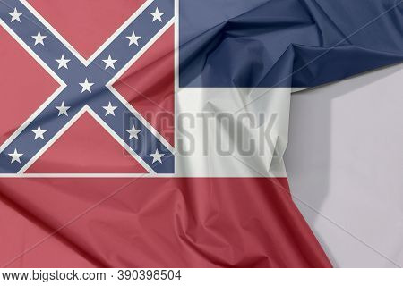 Fabric Flag Of Mississippi. Crease Of Mississippi Flag Background, The States Of America, Blue White