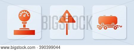 Set Exclamation Mark In Triangle, Gauge Scale And Oil Railway Cistern. White Square Button. Vector