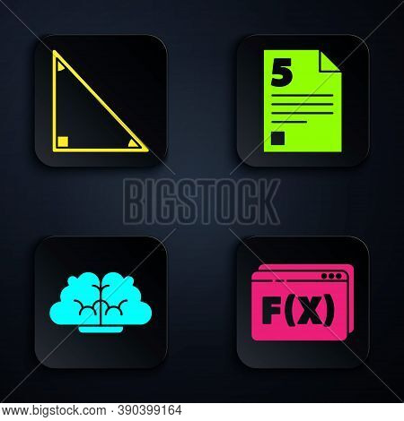 Set Function Mathematical Symbol, Triangle Math, Human Brain And Test Or Exam Sheet. Black Square Bu