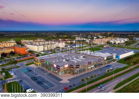 Pruszcz Gdanski, Poland - 18 October, 2020: Shopping center and the residential area of Pruszcz Gdanski in Poland.