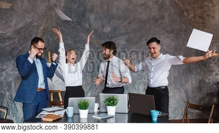 Euphoric Excited Business Team Celebrate Corporate Victory Together In Office, Happy Overjoyed Profe