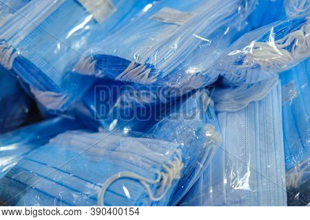 Medical Mask Packs Sold In Large Quantities At The Store, Textured